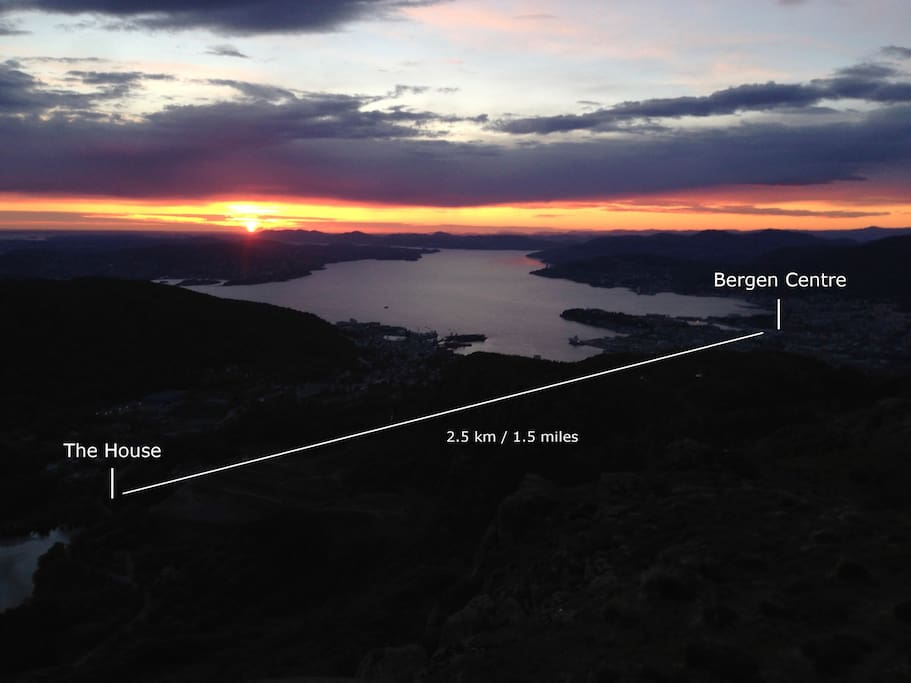 The house and Bergen Centre as seen from one of Bergen's seven surrounding mountains. Shows how close the house is to the centre