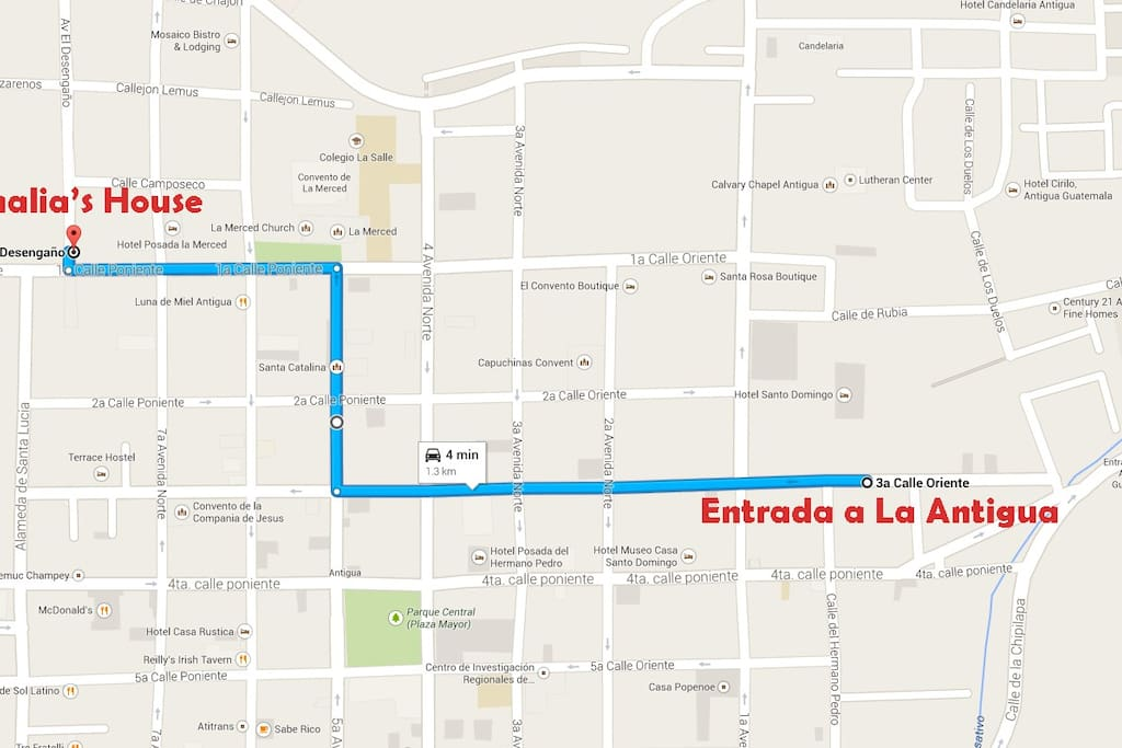 Safe neighborhood (day and night)   great location in Antigua, close to restaurants, sights etc.
