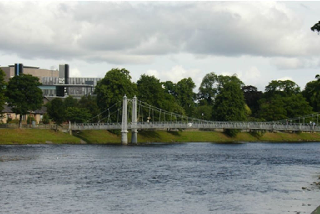 One of the many bridges that cross the river Ness which is a feature in the middle of the town