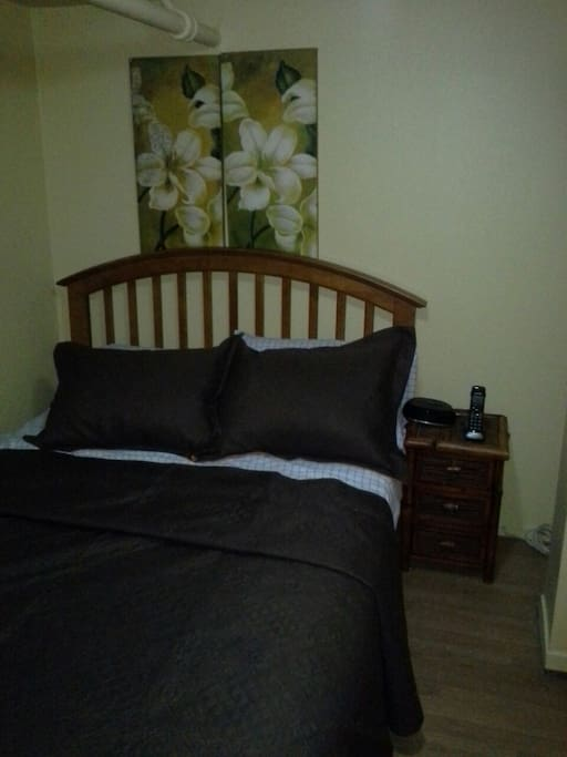 Full size bed sleeps 2, telephone for room to room calling or free US nationwide calls.