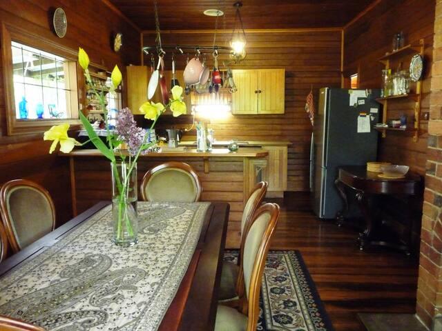 Open plan dining + kitchen