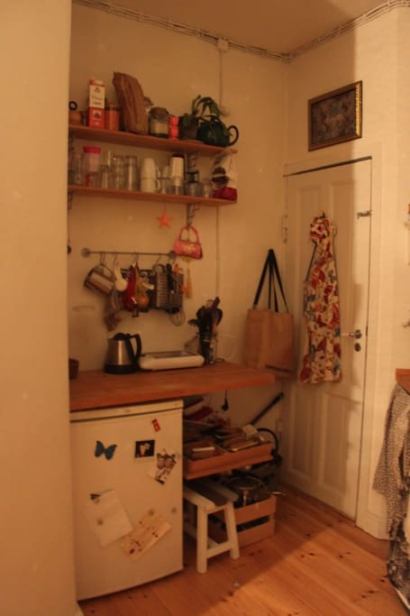 Small but cozy kitchen, with both refrigerator and freezer.  Door to the backyard.