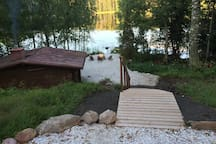 View to the lake and the sauna is warming up!