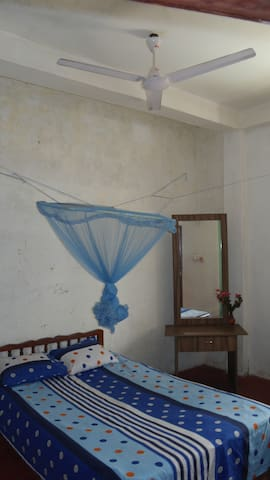 comfortable bed with mosquito net and fan