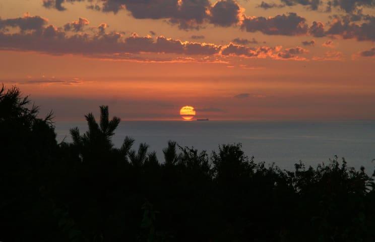 Sommerhus m havudsigt og solnedgang - Fårevejle