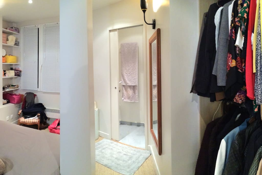 The bedroom and the bathroom