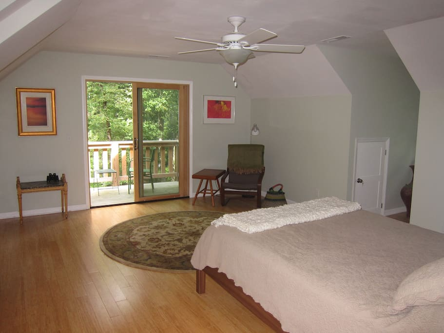 Upstairs bedroom with deck