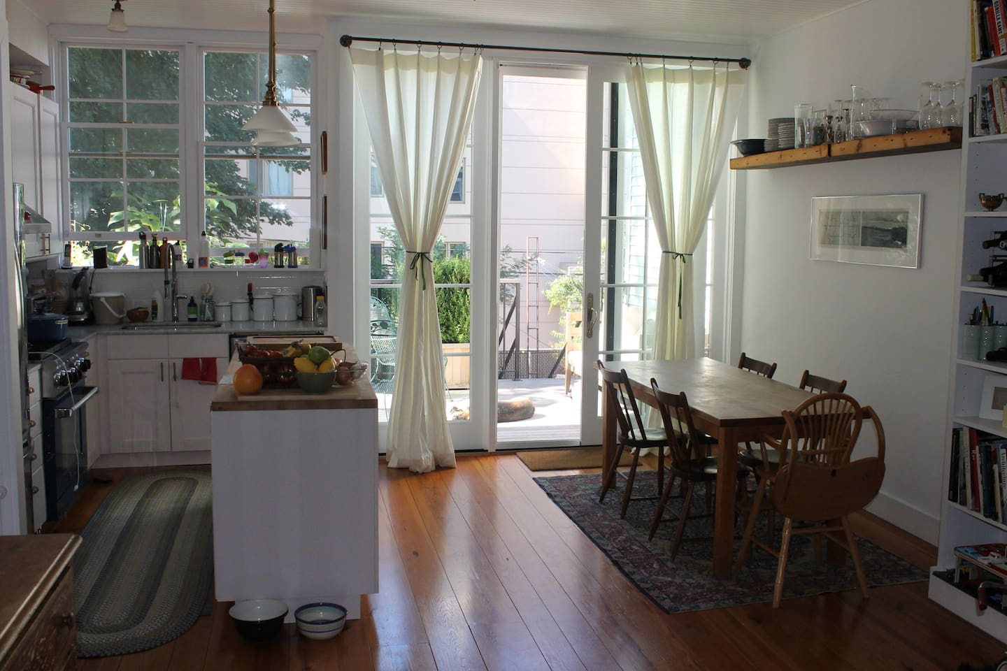 Kitchen, dining room and deck