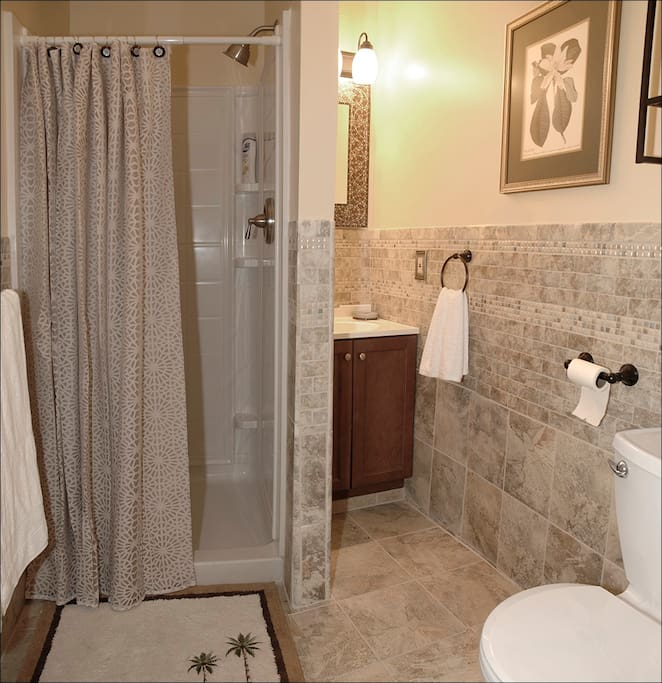 Bathroom with all amenities, including supplies