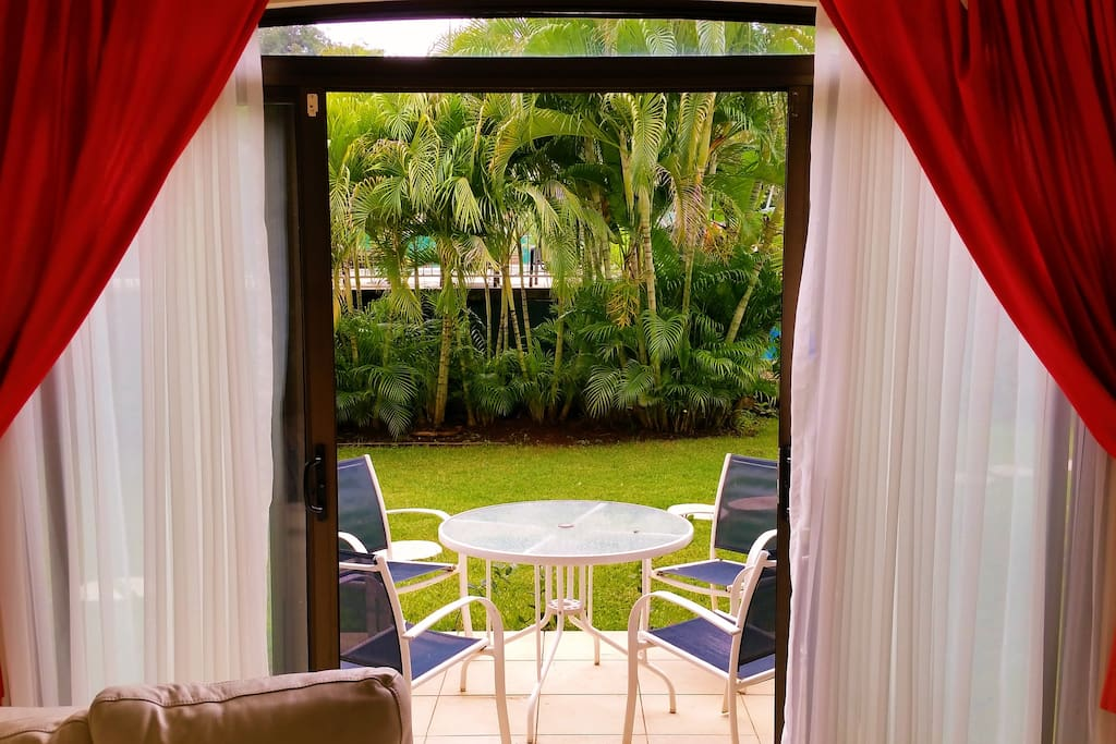 Patio is located off living room. Sit outside at night under the huge Guanacastecan star-filled sky and breathe in the soft, tropical air.
