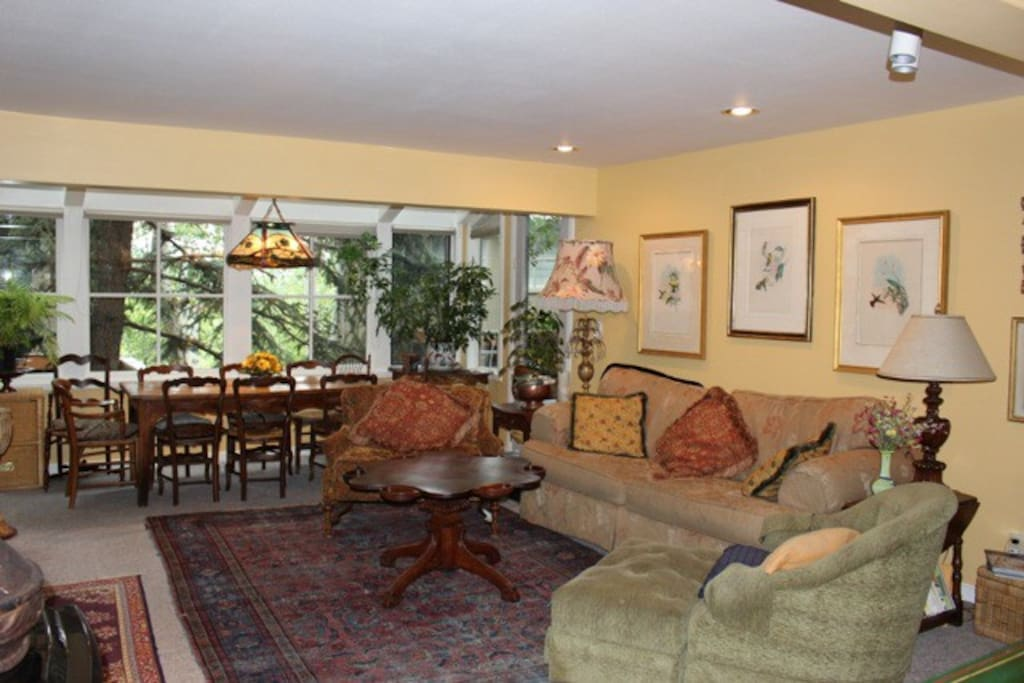Open living dining area with comfy couches