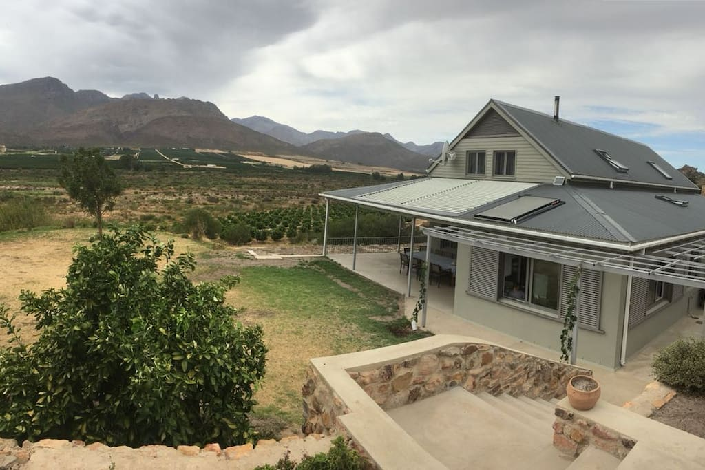 Latjeskloof Bed and Breakfast home with the view of Olifants River Valley and Citrus Orchards in the background