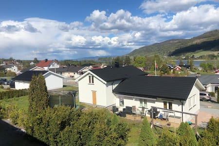 Hus nær strand og Vikersund sentrum.
