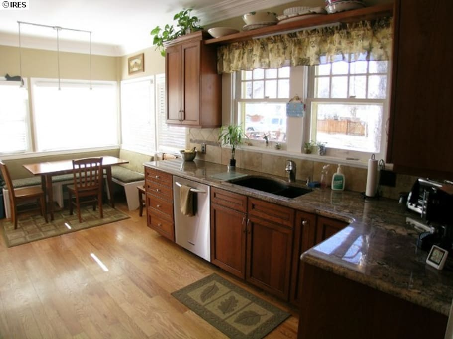 Southwest facing kitchen with large sunny deck.