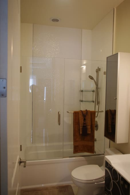 spa like bathroom (tub & shower) in the unit