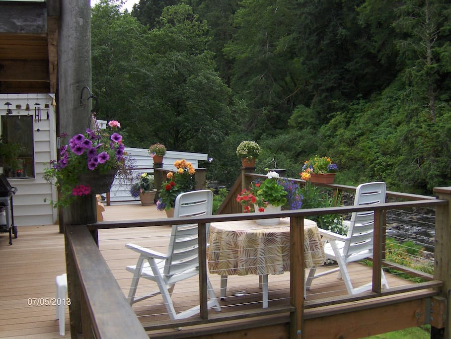 Back deck overlooking the river