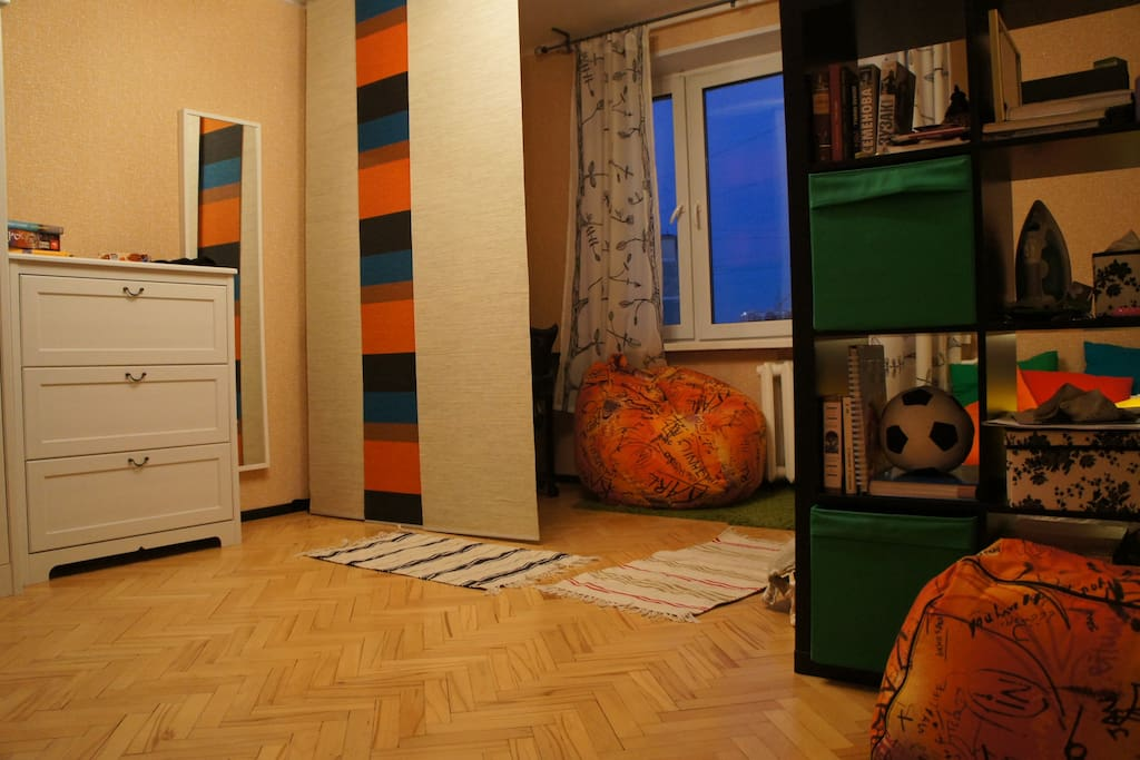 The apartment has only one room, but it's fully equipped for comfortable staying.