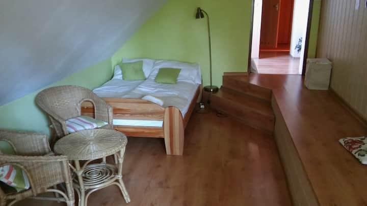 Przytulne pokoje w drewnianym domu z ogrodem