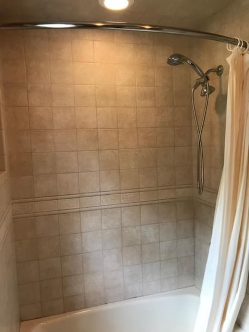 Full size shower with bath.