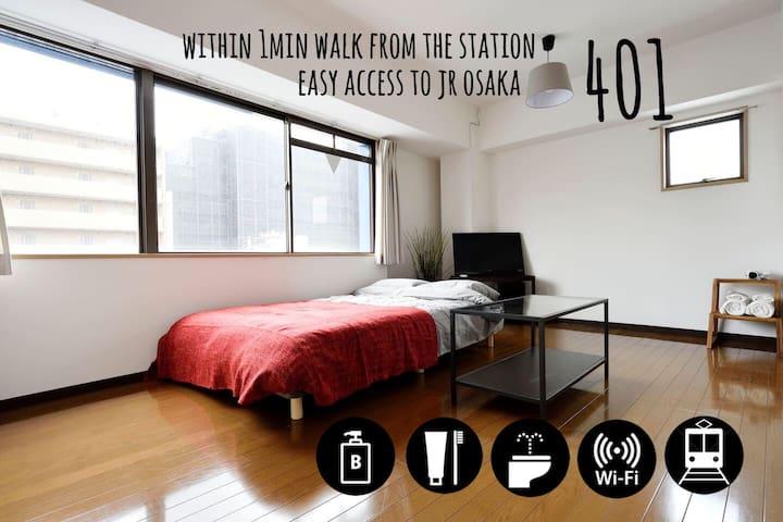 *401* 1min to sta. Easy access to OSAKA sta.【WIFI】