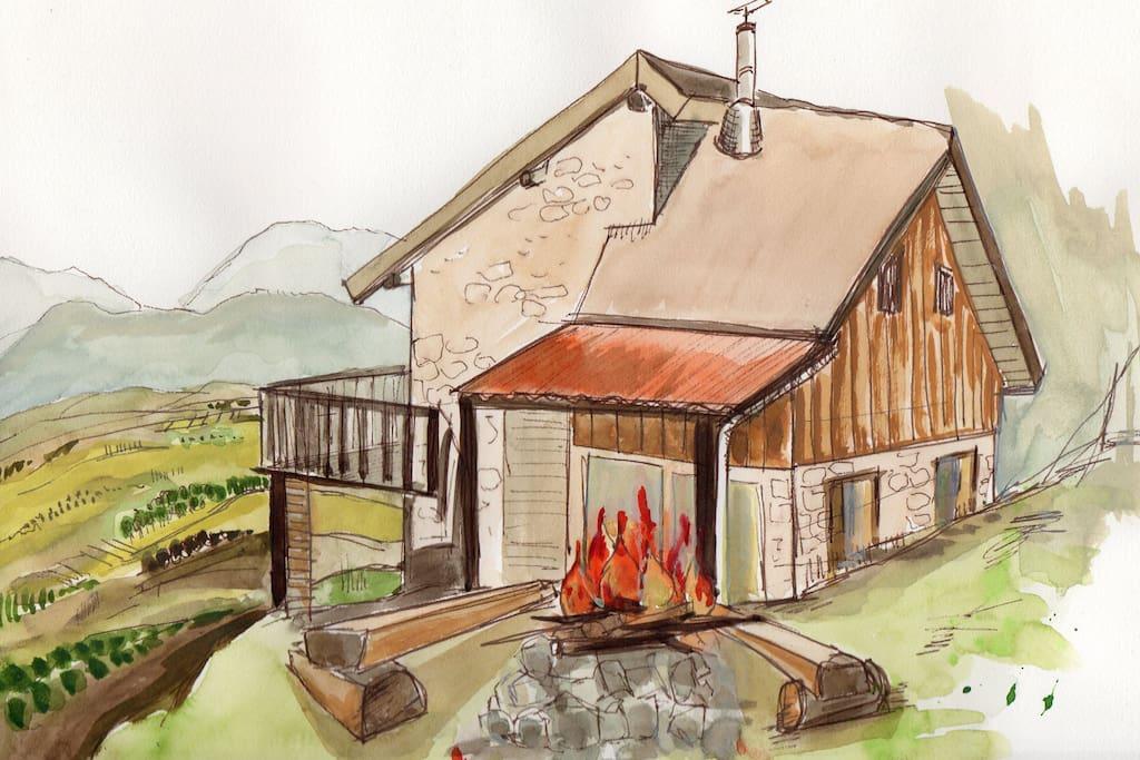 eco refuge ma cabane perch e en rh ne alpes maisons organiques louer corbonod auvergne. Black Bedroom Furniture Sets. Home Design Ideas