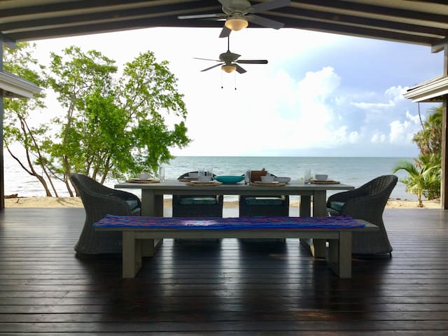 Enjoy the covered 600 Sq Ft indoor-outdoor living space…Perfect for breakfast brunches and cocktails with friends in the afternoon….tropical beach and sunset lagoon views are all included.