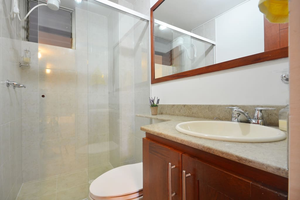 Comfortable bathroom. Shower with hot water