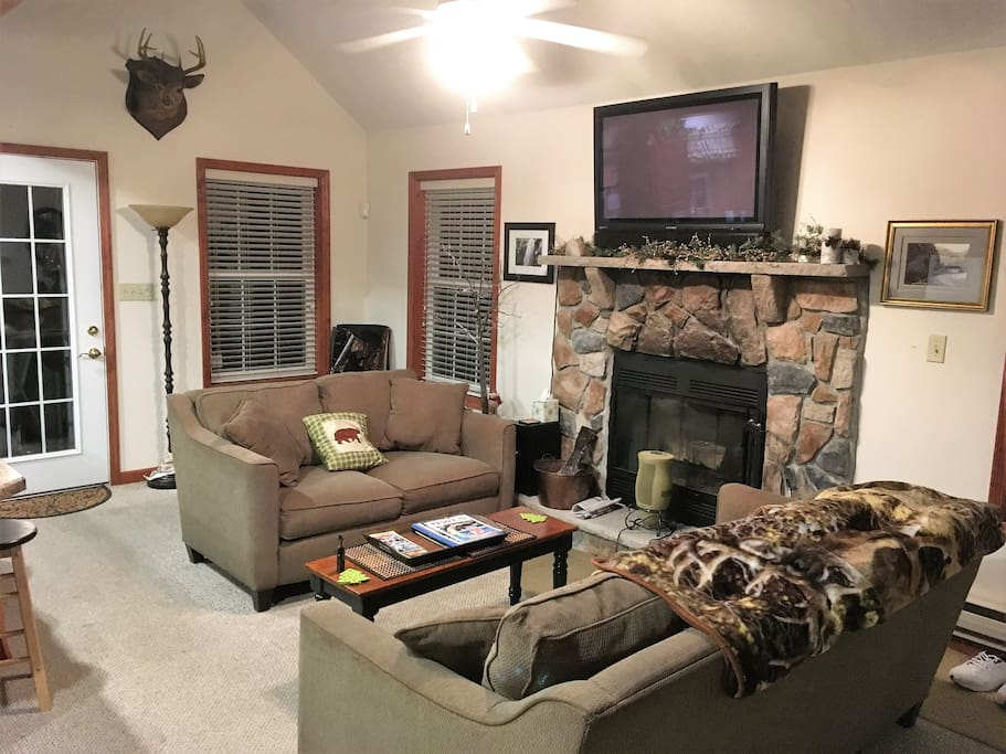 The living room is cozy and warm with a nice fireplace.