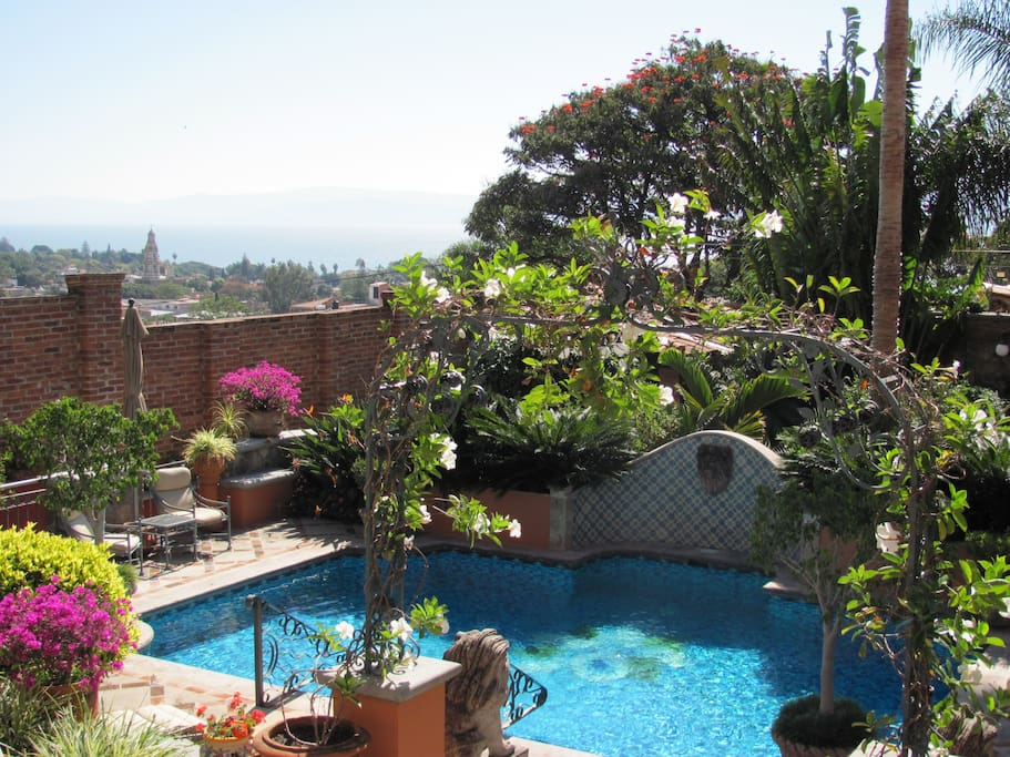 View of the Pool with Ajijic Village in the background