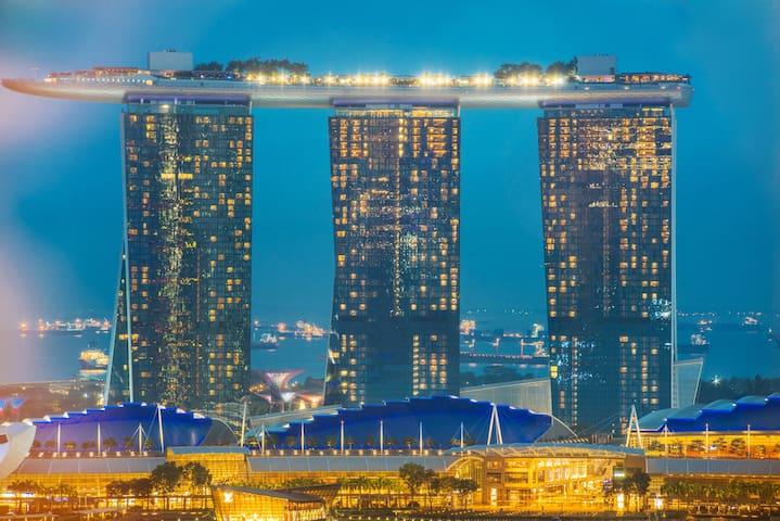 Marina bay view high floor 1Min to MRT 2BR整套金莎景近地铁