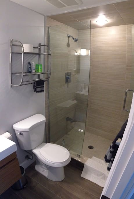 Exclusive use of a glassed-in shower for a roomy sudsing.