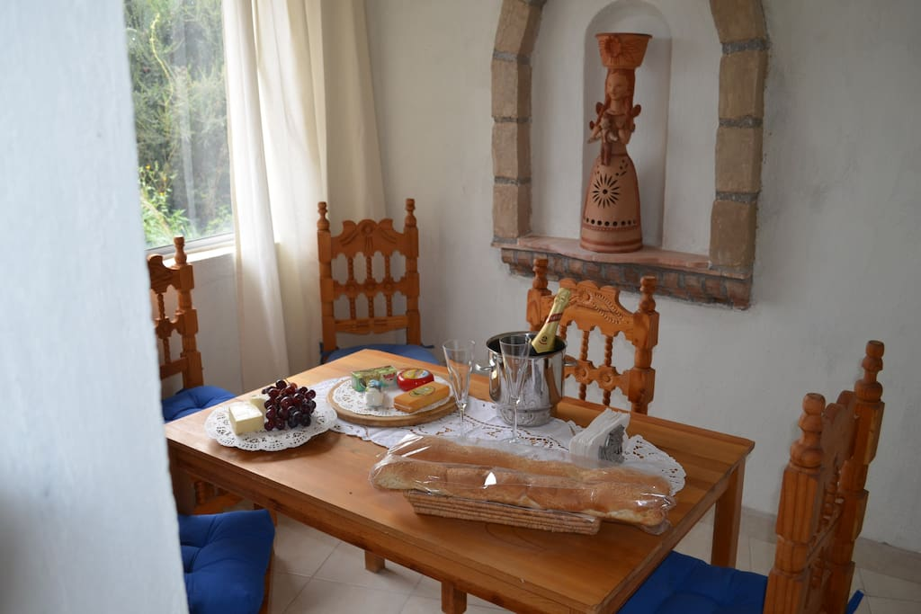 The dining room with welcome gifts