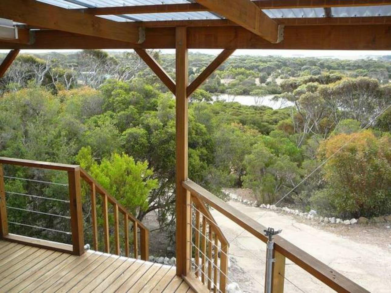 The view out over the vegetation and river from Osprey Heights porch.