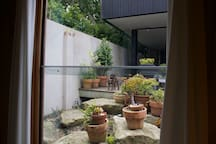 Leafy outlook from your private studio space