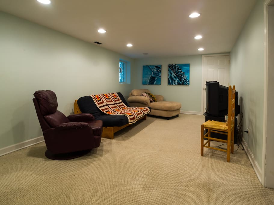 Living room, with Futon that folds into bed