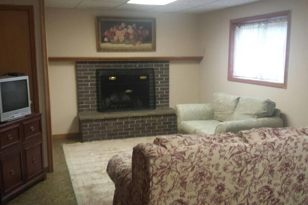 Living Room area with queen sleeper sofa.
