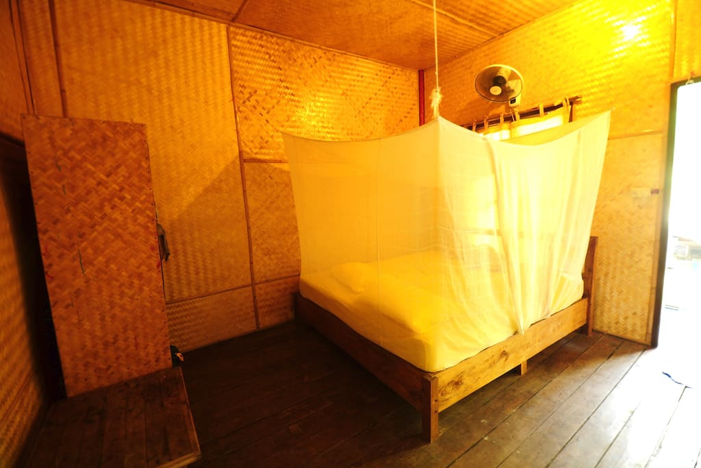 Basic room, just mosquito net and fan
