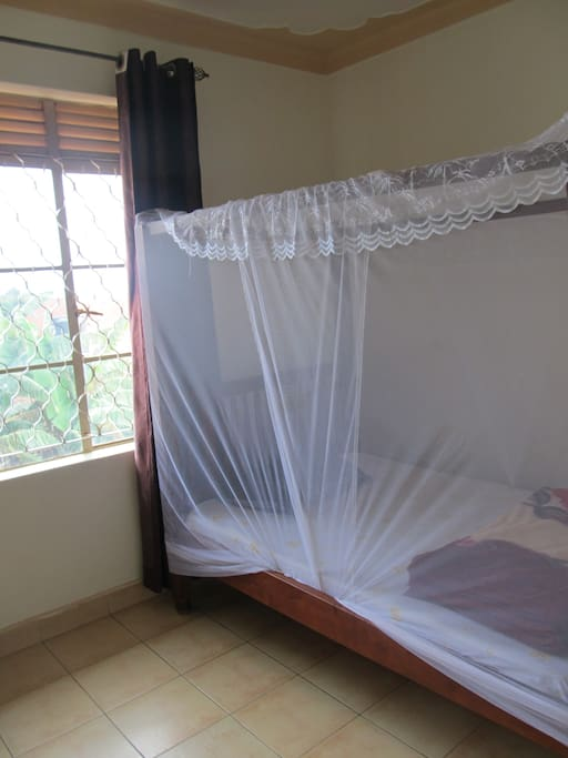 We have spacious 4 poster beds that are all fitted with easy access mosquito nets.