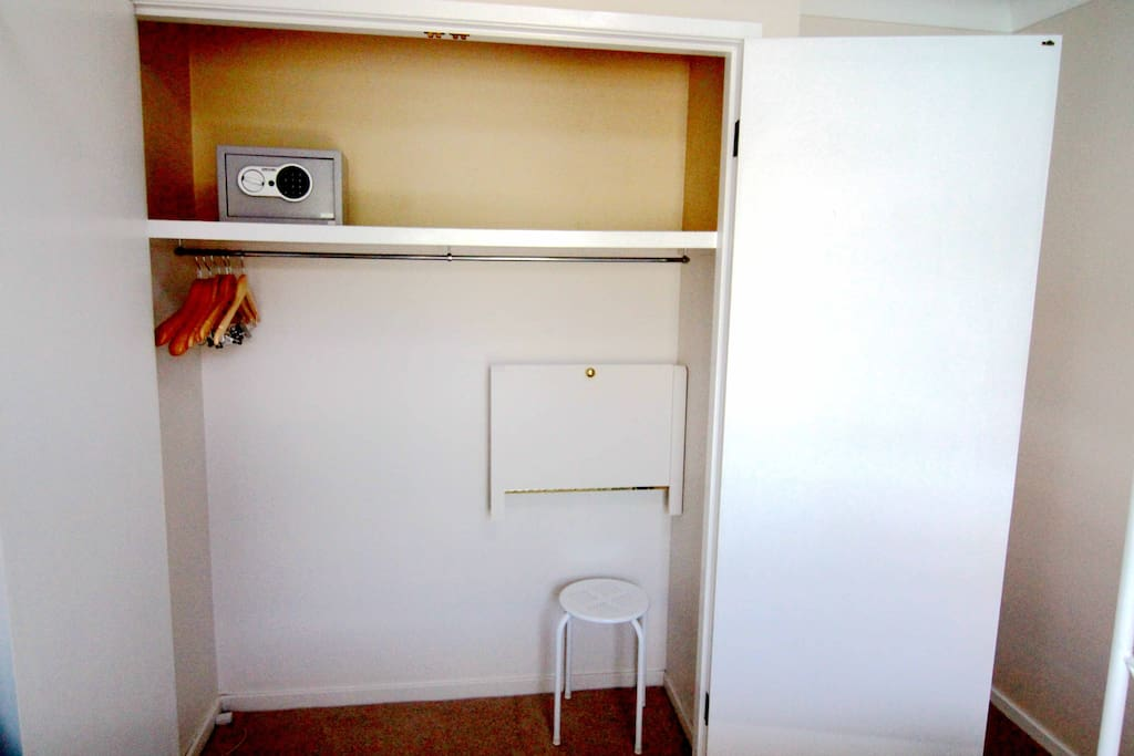 the fold down desk & the chair in the wardrobe.