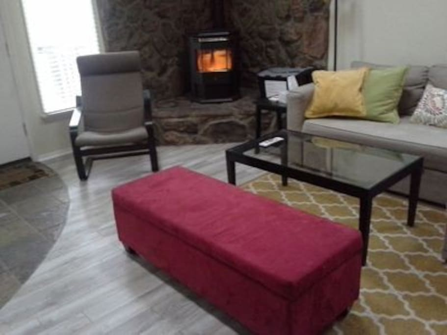 Cozy pellet fireplace