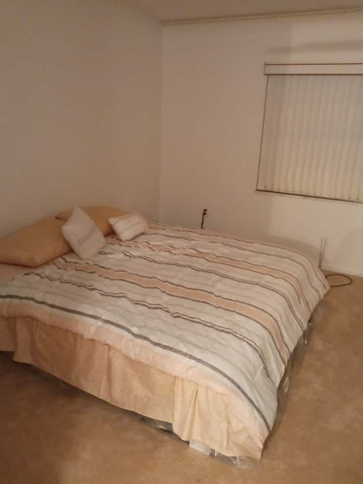 king size bed and private bath