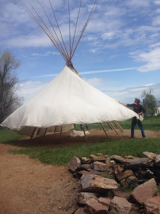 Two people can easily put up poles,tipi canvas and liner in less than an hour!