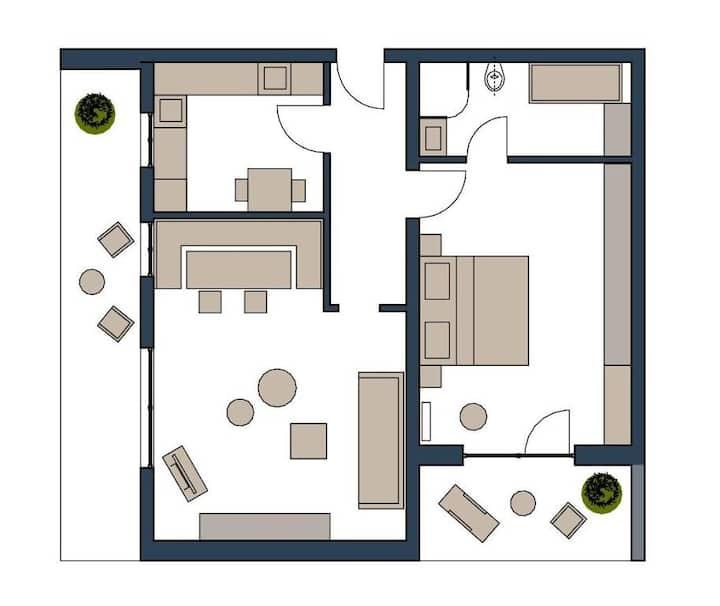 Appartementhaus Reiterhof (Bad Füssing), FWA Ferienwohnung Der Klassiker mit 2 Balkonen