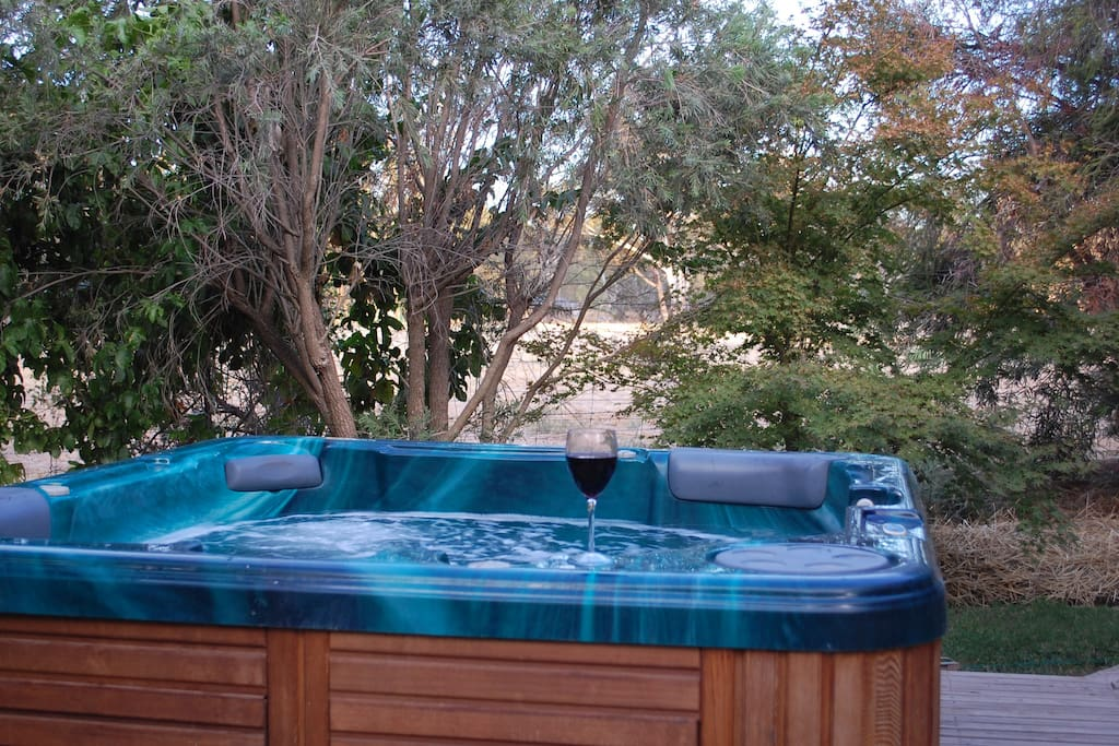 Outdoor spa surrounded by garden