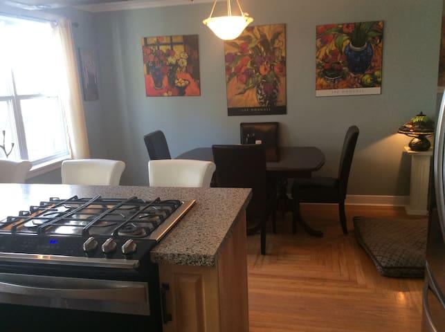 propane stove , dining area