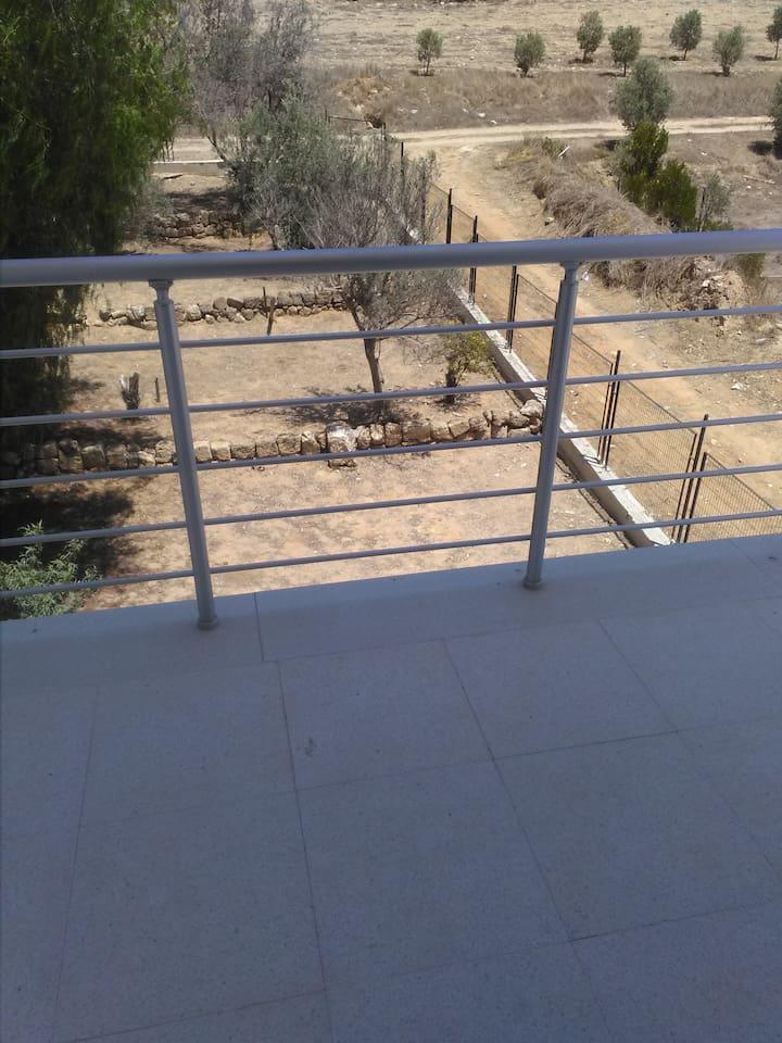 Evin balkonundan bahcenin gorüntüsü