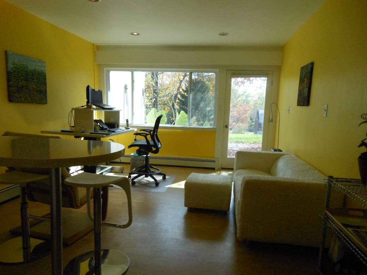 Living space has standup or sit down large desk. High speed internet wired and wifi but no TV.