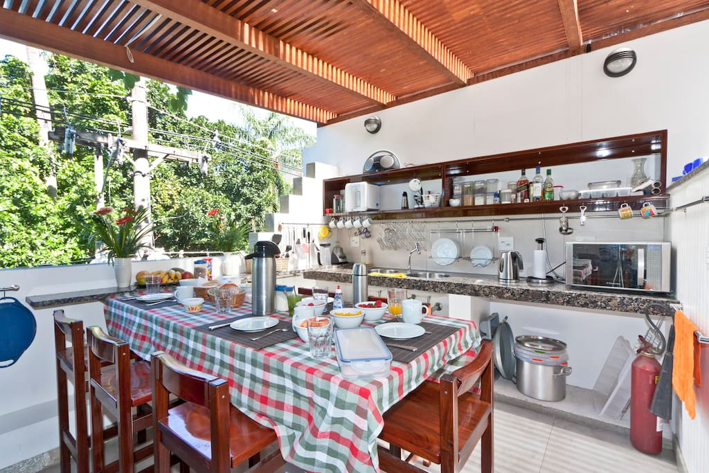 Outdoor gourmet kitchen and breakfast/bar table for exclusive use of guests. Seating for 7