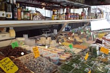 Lot's of tapas, also fresh fish,cheeses, flowers ect.