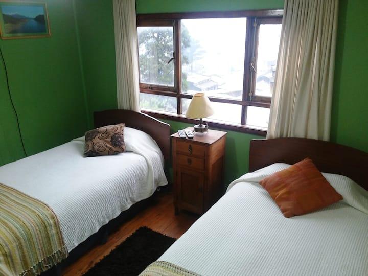 Habitación verde, dos camas y baño privado